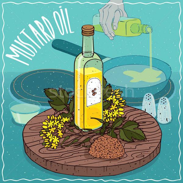 Mustard seed oil used for frying food Stock photo © alexanderandariadna