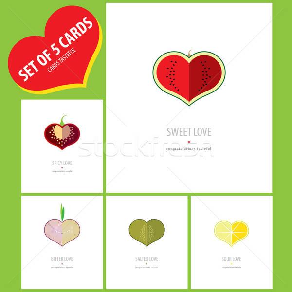 Set Glückwunsch Karten Liebe Stock foto © alexanderandariadna