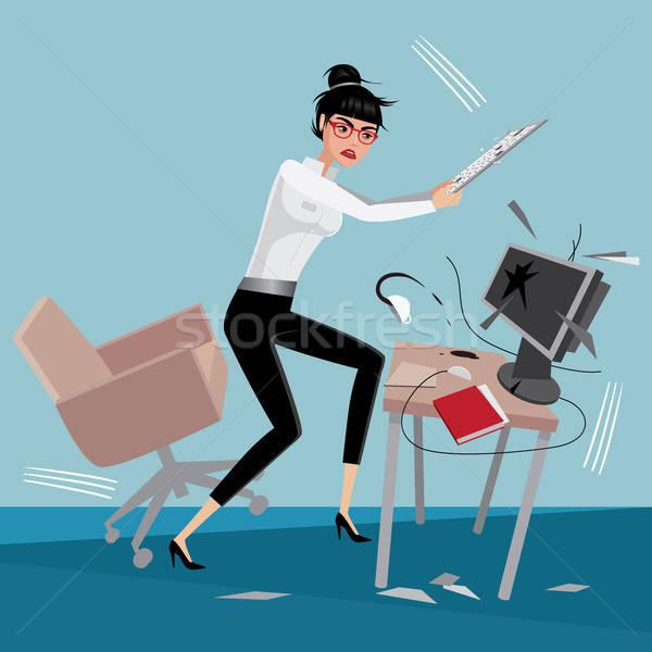 Mérges üzletasszony számítógép munkahely iroda nő Stock fotó © alexanderandariadna