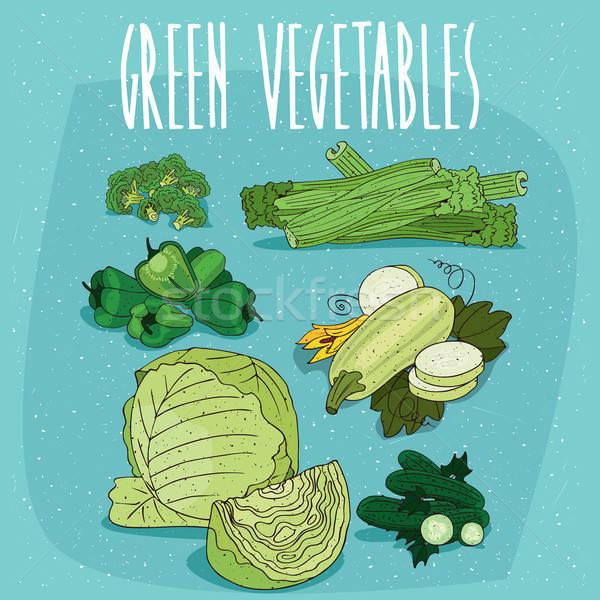 Foto stock: Establecer · aislado · clipart · verde · orgánico · productos
