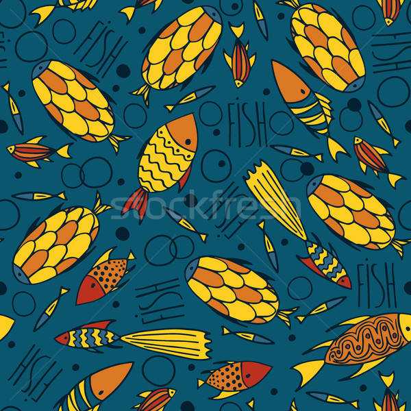 Blue pattern with fishes in a chaotic manner Stock photo © alexanderandariadna