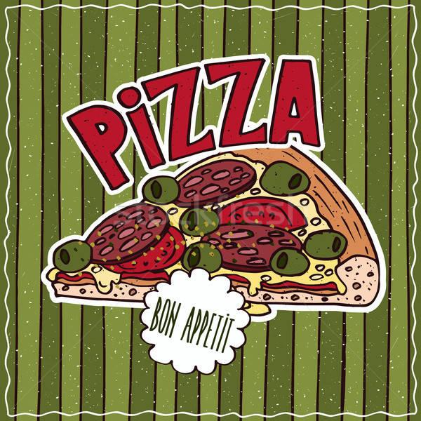 étel poszter pizza fényes színes finom Stock fotó © alexanderandariadna