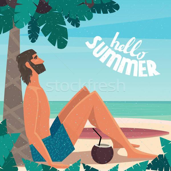Man on vacation relaxing on the beach Stock photo © alexanderandariadna