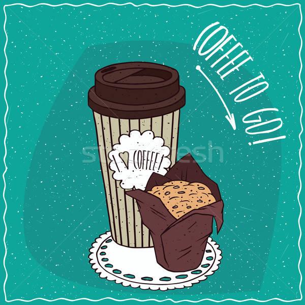 бумаги Кубок кофе оладья грубая оберточная бумага полосатый Сток-фото © alexanderandariadna