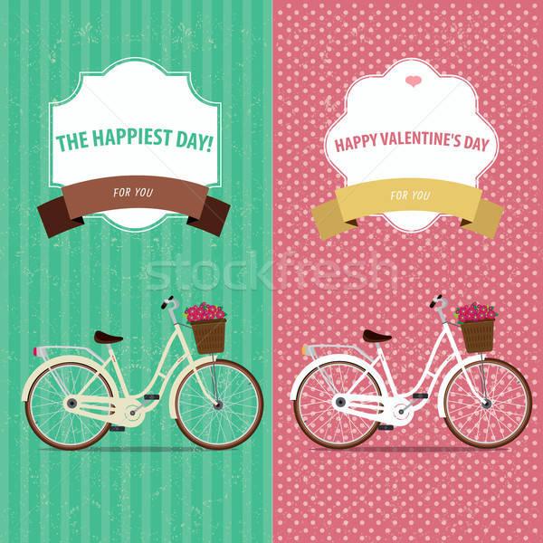 Carte vélo deux vintage cartes Photo stock © alexanderandariadna