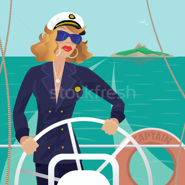 Sea captain female on the deck with ships steering wheel Stock photo © alexanderandariadna