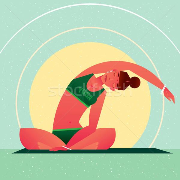 Girl sitting in Yoga Lotus Pose and tilts left Stock photo © alexanderandariadna