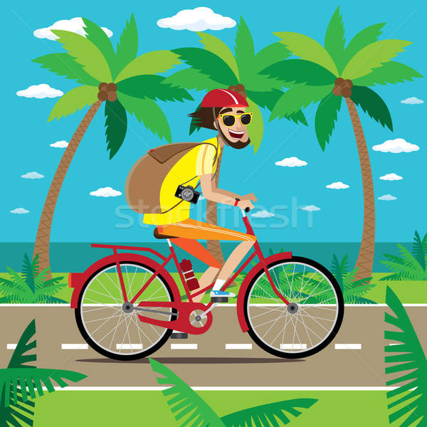 Bicycler travels in jungle Stock photo © alexanderandariadna
