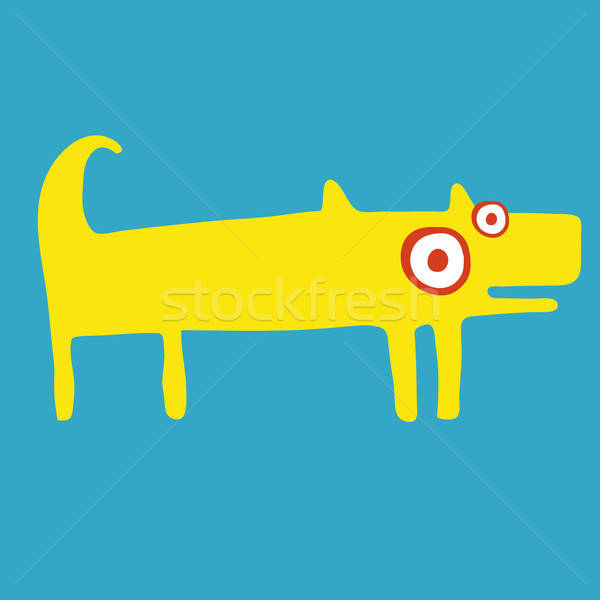 Funny yellow dog stands and wags his tail Stock photo © alexanderandariadna