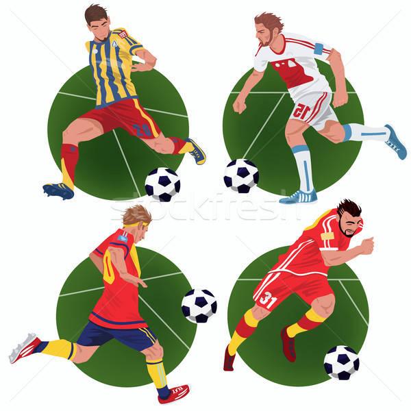 セット ステッカー サッカー プレーヤー を実行して サッカー ストックフォト © alexanderandariadna