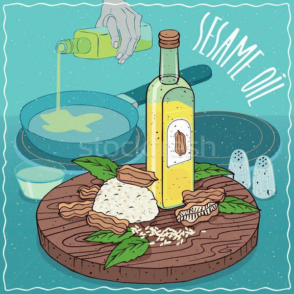 Sésame pétrolières utilisé alimentaire verre bouteille Photo stock © alexanderandariadna