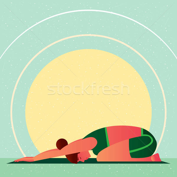Girl in Yoga Childs Resting Pose or Balasana Stock photo © alexanderandariadna
