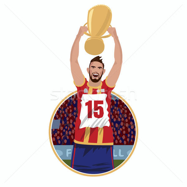 Feliz futbolista premio taza emblema etiqueta Foto stock © alexanderandariadna