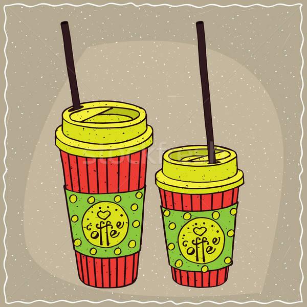 Ayarlamak iki kâğıt kahve Stok fotoğraf © alexanderandariadna