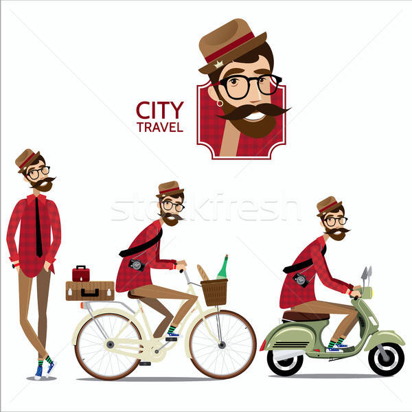 Set of city travelers Stock photo © alexanderandariadna