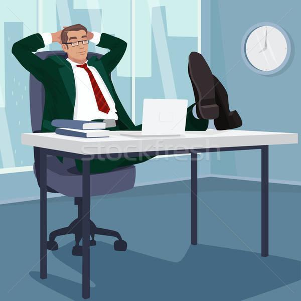 Carefree businessman sleeps in workplace Stock photo © alexanderandariadna