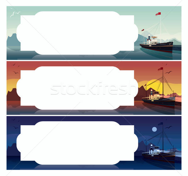 Set of horizontal templates with old ship Stock photo © alexanderandariadna