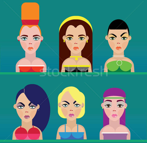Ingesteld zes verschillend meisjes kleur mode Stockfoto © alexanderandariadna