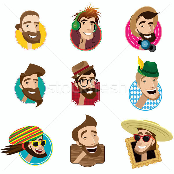 Set of flat icons with men heads Stock photo © alexanderandariadna