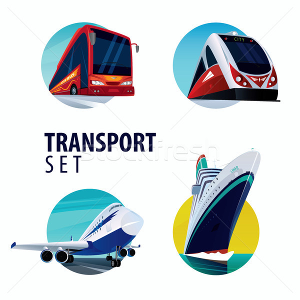 Set of round emblems with bus, train, plane, ship Stock photo © alexanderandariadna