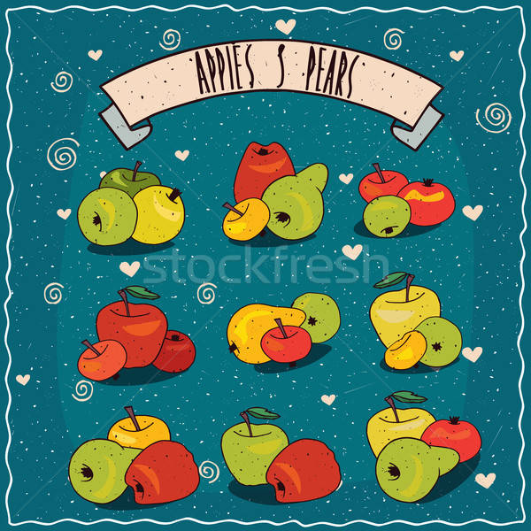 Set of clip art of groups of apples and pears Stock photo © alexanderandariadna