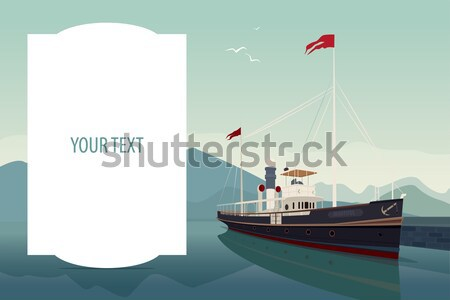 Horizontal template with old ship in clear day Stock photo © alexanderandariadna