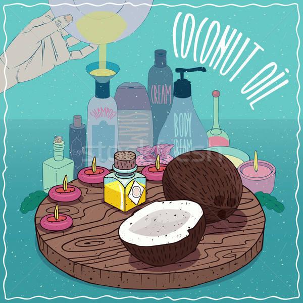 Coconut oil used for cosmetics making Stock photo © alexanderandariadna