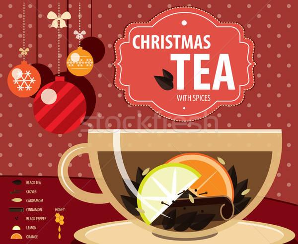 Recept christmas thee kleur infographics gezondheid Stockfoto © alexanderandariadna
