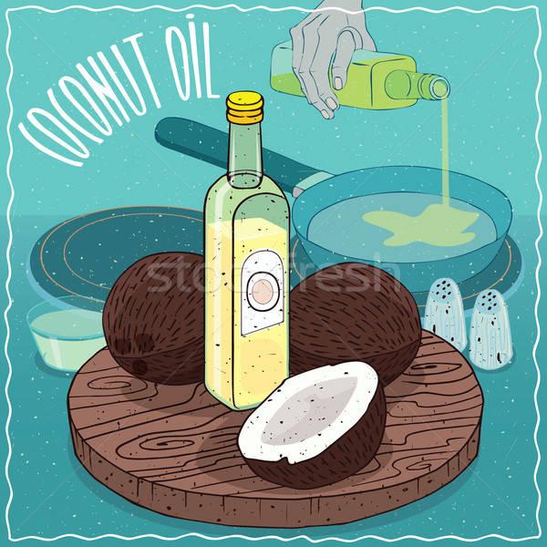 Kokosnoot olie gebruikt voedsel glas fles Stockfoto © alexanderandariadna
