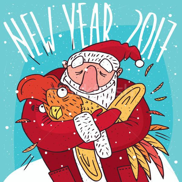 Дед Мороз испуганный петух петух Cartoon Сток-фото © alexanderandariadna