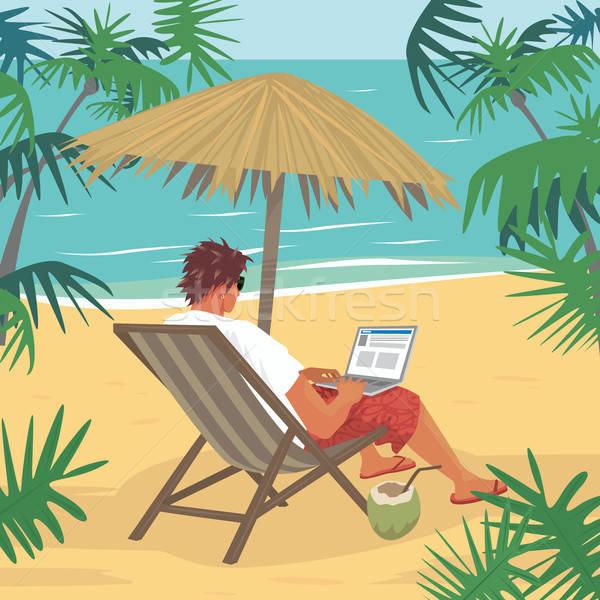 Young man working on laptop on tropical beach Stock photo © alexanderandariadna
