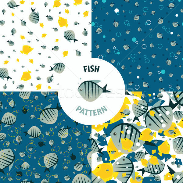 Vector fish pattern set Stock photo © alexanderandariadna
