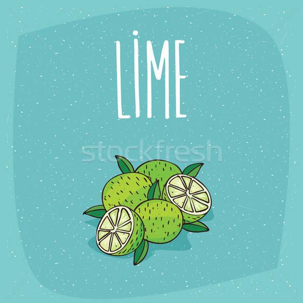 Isolated ripe lime fruits whole and cut Stock photo © alexanderandariadna