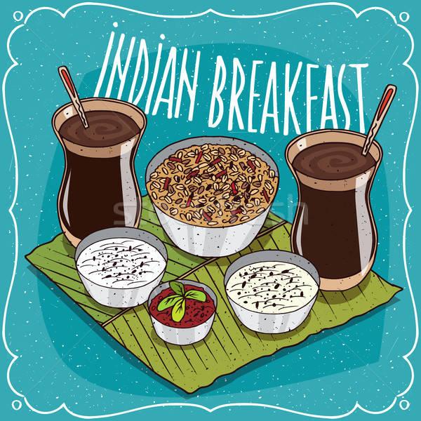 Foto d'archivio: Indian · colazione · due · persone · muesli · tradizionale · alimentare