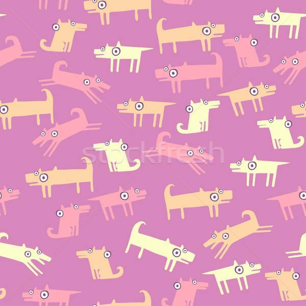 犬 パターン ピンク シームレス 面白い ペット ストックフォト © alexanderandariadna