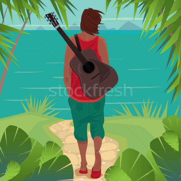 Young man with guitar on the island Stock photo © alexanderandariadna
