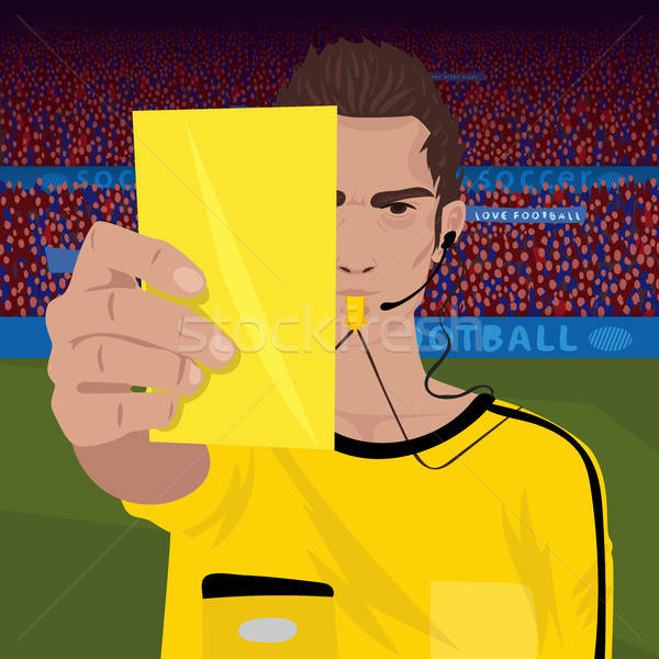 Referee whistling holds yellow card Stock photo © alexanderandariadna