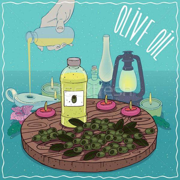 оливкового масла используемый топлива пластиковых бутылку Сток-фото © alexanderandariadna