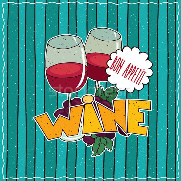 Stockfoto: Poster · bril · rode · wijn · druiven · kleurrijk · bos