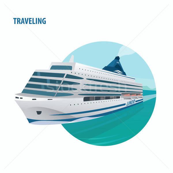 Emblema branco navio de cruzeiro enorme belo abrir Foto stock © alexanderandariadna