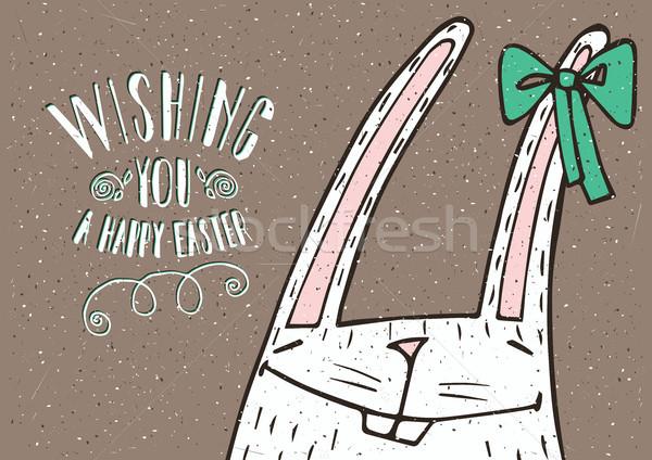 Wishing you a Happy Easter with Easter Bunny Stock photo © alexanderandariadna