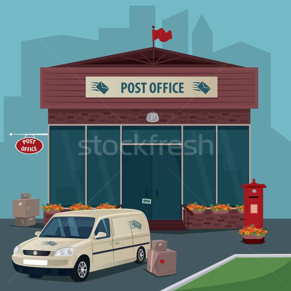 Külső posta autó postai szolgáltatás modern dobozok Stock fotó © alexanderandariadna