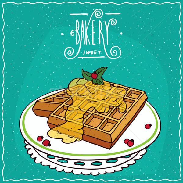 Méz szalvéta tányér hazugság ciánkék díszes Stock fotó © alexanderandariadna