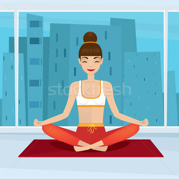 Stock photo: Girl sitting in yoga pose siddhasana near panoramic window