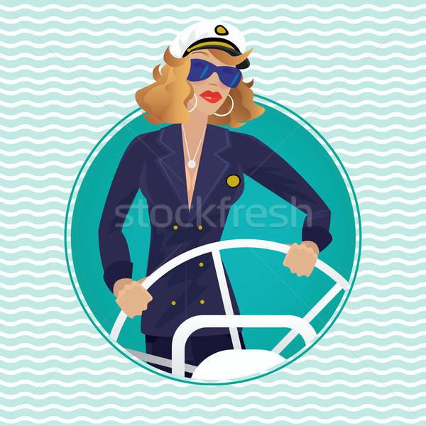 Sea captain female in round water frame with ships wheel Stock photo © alexanderandariadna