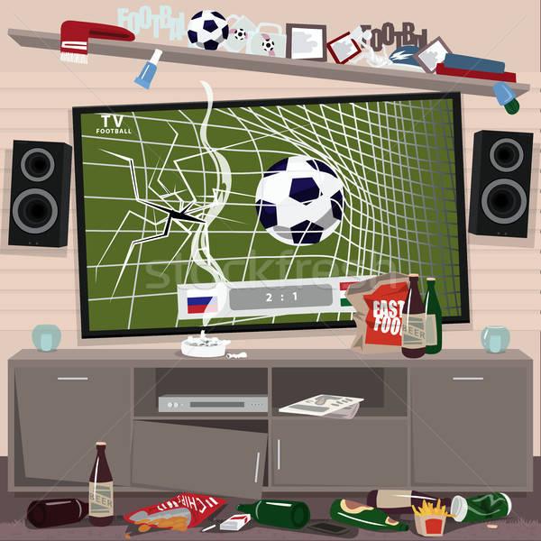 Bałagan pokój oglądania piłka nożna piłka nożna fan Zdjęcia stock © alexanderandariadna