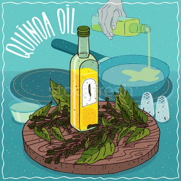 Foto d'archivio: Olio · usato · alimentare · vetro · bottiglia · impianto