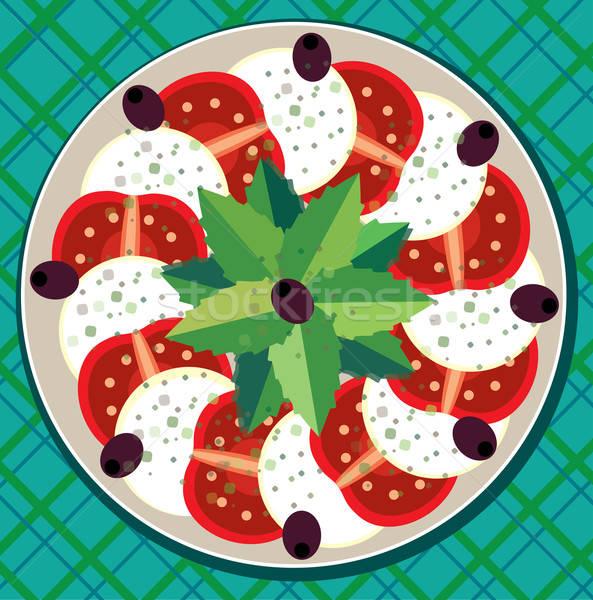 ストックフォト: カプレーゼサラダ · テーブルクロス · 表示 · 表 · カプレーゼ · プレート