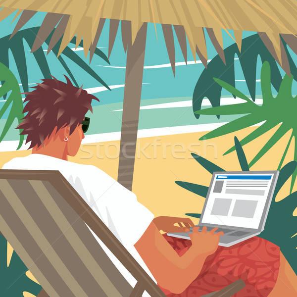 Drukke man werken laptop tropisch strand jonge man Stockfoto © alexanderandariadna