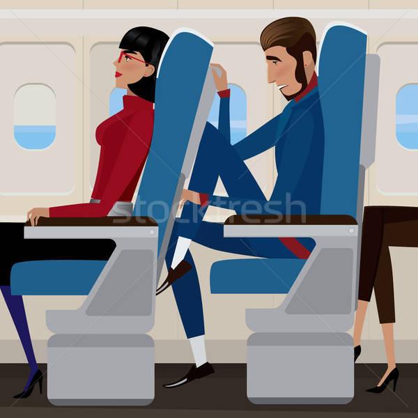Vôo economia classe mulher de volta assento Foto stock © alexanderandariadna